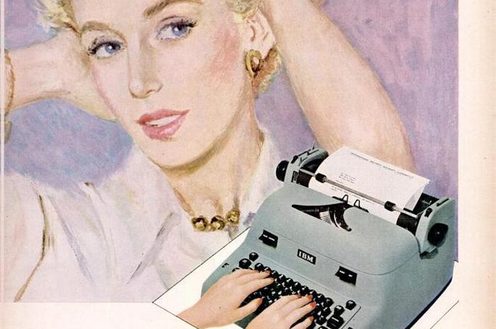 publicité vintage pour les machines à écrire IBM