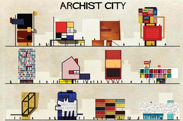 Des bâtiments imaginés à partir d'oeuvres d'art