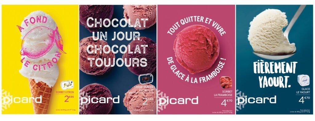 Nouvelle campagne d'affichage Picard pour ses 130 références de glaces.
