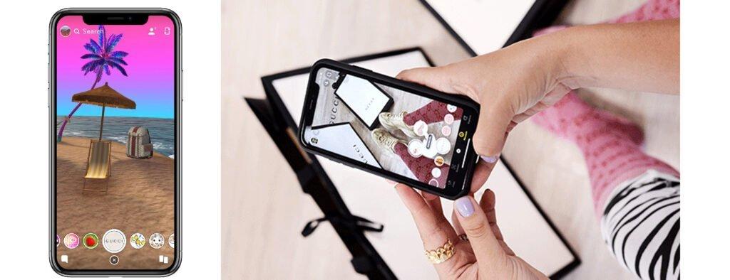Fonctionnalité Try-on de Snapchat en collaboration avec la marque Gucci