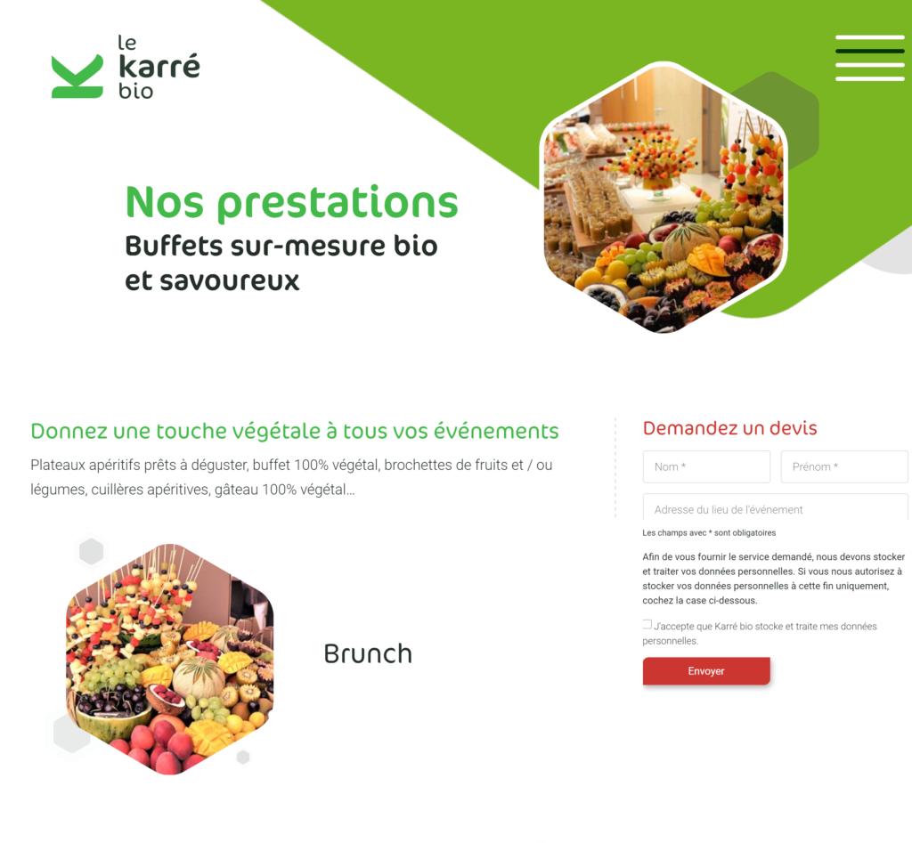 Nouveau site internet le Karré Bio traiteur 100% végétal.